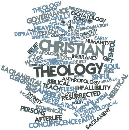 17398115 - abstract word cloud for christian theology with related tags and terms