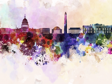 24055032 - washington dc skyline in watercolor background