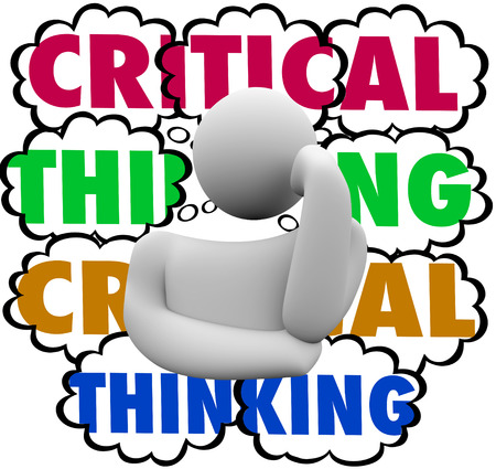 44516292 - critical thinking words in thought clouds behind a thinker to illustrate using analysis and careful process or system to look for improvement or increased results