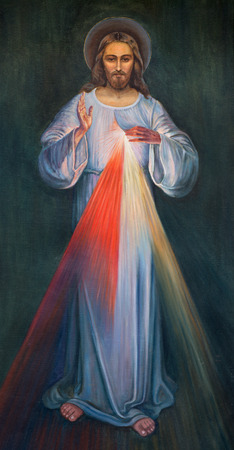 38897017 - jerusalem, israel - march 4, 2015: the modern paint of jesus in armenian church of our lady of the spasm by unknown artist.